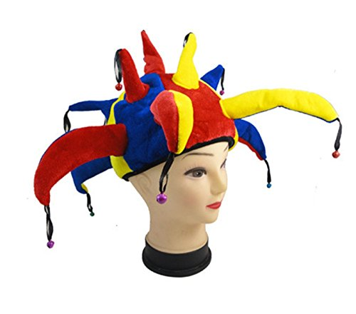 Funny Multicolor Halloween Festival Party Jester Clown Bell Mardi Gras Party Costume Hat - Clown Bell