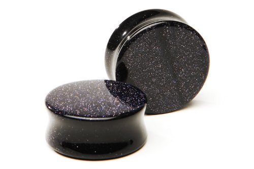 - Blue Goldstone Plugs SOLD AS A PAIR 10ga (2.5mm)