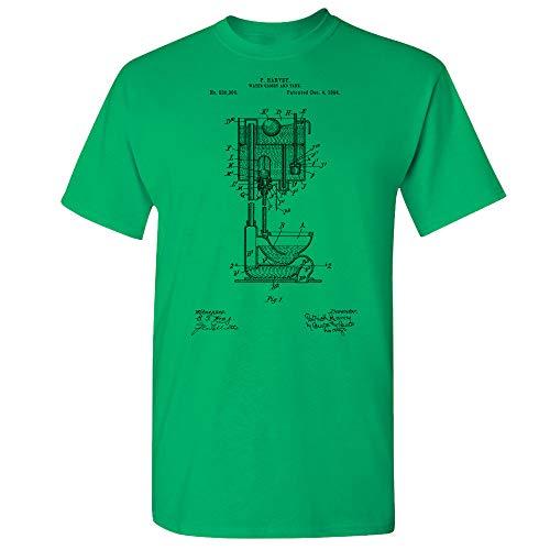 Pull Chain Toilet T-Shirt, High Tank Toilet, Water Closet, Plumber Gift, Plumbing, Vintage Bathroom, Lavatory Design Irish Green (XL)
