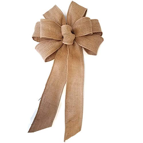 """10"""" Natural Burlap Wired Wreath Bow"""
