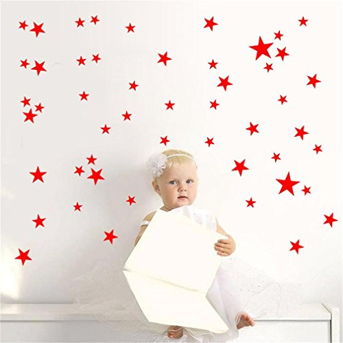 YJYDADA 34Pcs Star Removable Art Vinyl Mural Home Room Decor Kids Rooms Wall Stickers (Red) -
