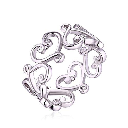 Gold Plated Ring Brass (Barzel Rose Gold, White Gold or Gold Plated Filigree Heart Ring (White Gold, 8))