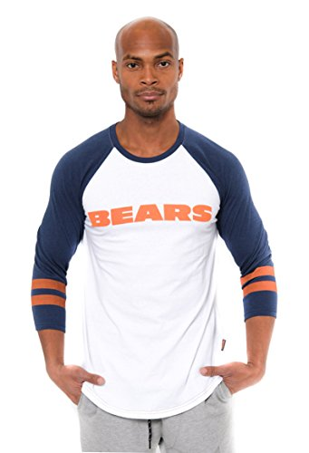 Chicago Bears Crew Shirt - NFL Men's Chicago Bears T-Shirt Raglan Baseball 3/4 Long Sleeve Tee Shirt, Large, White