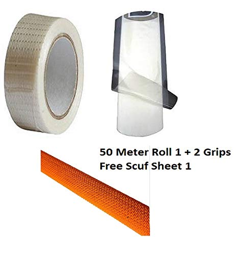 C&W Buy Cricket Accessories 3 Item Small Pack Fibber Tape Roll Length 50 Meter Anti Scuff Water Proof Tape & 2 Octopus Bat Grip for Cricket Bat Get 1 Scuff Sheet Free