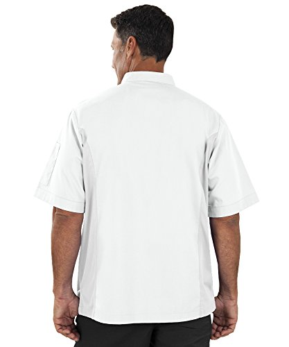 Men's Short Sleeve Chef Coat with Mesh Sides (XS-3X, 2 Colors) (Large, White) by ChefUniforms.com (Image #7)