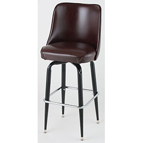 Price comparison product image Bucket Seat Bar Stool,  Black Square Frame,  (ROY 7714 BRN)2 KD Brown,  Royal Industries
