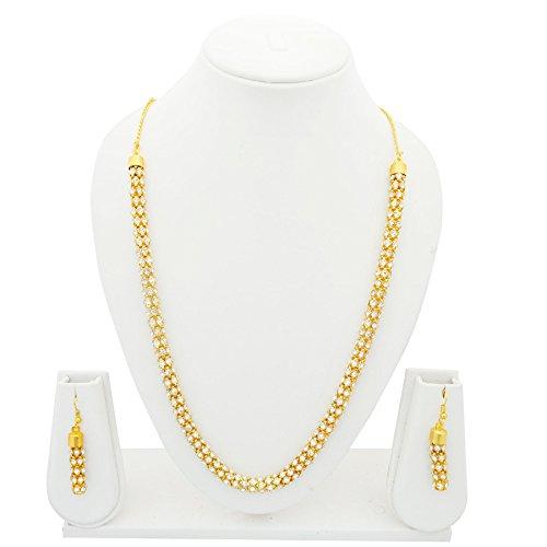 Designer Handcrafted Crystal Diamond Embellished Cylindrical Necklace & Earring Set - Gold Color