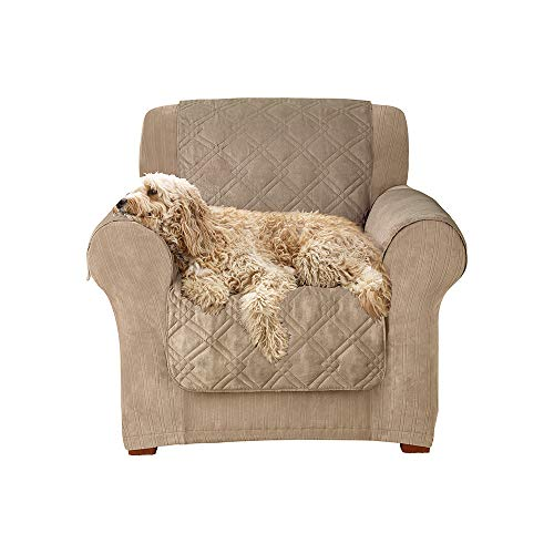 SureFit  Microfiber Chair Pet Throw/Slipcover with Arms, Sable (Loveseat Measurements Standard)