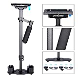 YELANGU Carbon Fiber 24'/60cm Handheld Stabilizer with 1/4' and 3/8' Screw for DSLR and Video Cameras up to 6.6lbs/3kg(Black)