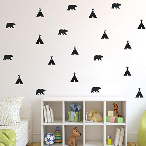 HOT - Wall Stickers - 52Pcs/Set Cute Bear Wall Sticker Tribal Teepee Tent Removable Wall Decal Kids Baby Room Decor Forest Theme Wallpaper Gift Az393 - by Celery. - 1 Pcs