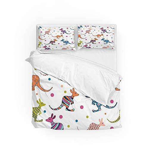 Zhongji Duvet Cover King Comforter Cover Set Bedding Sets 3 Piece 1 Quilt and 2 Pillowcases for Home Hotel Australia Kangaroo Colorful Seamless Pattern on White Background (Comforter Sets King Australia)