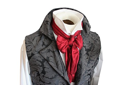 Elegantascot Men's Handmade Slim Regency Cravat Dupioni Silk Ascot Tie Red