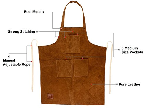 Rustic Town Genuine Leather Grill Work Apron with Tool Pockets ~ Adjustable up to XXL for Men & Women ~ Gift Ideas for Him Her (Tan) by Rustic Town (Image #3)