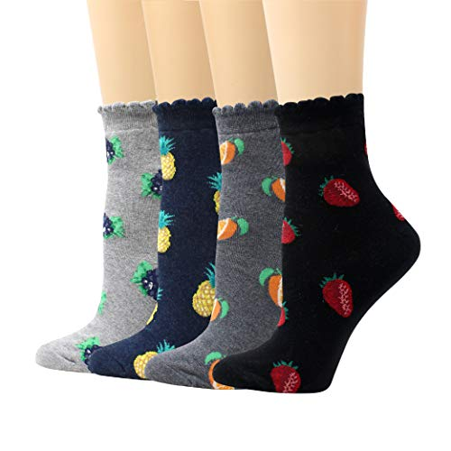 - LIVEBEAR 4 Pairs Womens Cute Mini Print Funny Novelty Casual Cotton Made In Korea Crew Socks (Animals, Fruits, Apples, Bananas, Desserts, Mini Icons, Patterns)