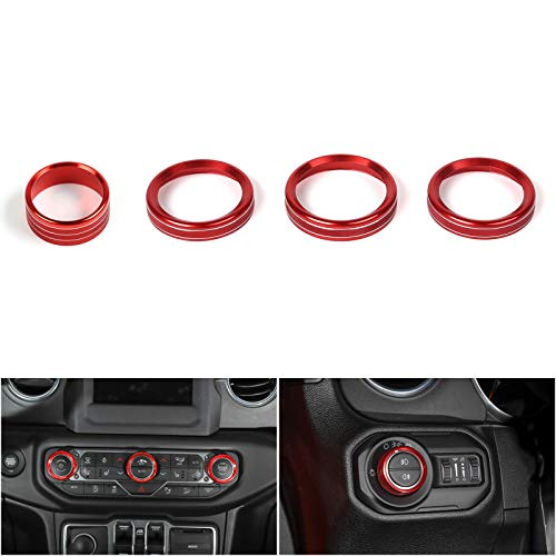 Artudatech 4PCS Aluminum AC Climate Control Ring Knob Covers For Jeep Wrangler JL 2018+ RED ()