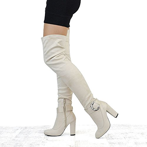 Leg Knee GLAM Block Heel Over Faux Stretch ESSEX High Boots Ladies Tall Nude The Suede Womens High Thigh qOYwYISd