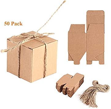 50 unidades Cajas de Cartón Kraft Cajitas Vintage de Cartoncillo con Cuerda para Regalo Bautismo Boda Caramelos Confites: Amazon.es: Juguetes y juegos