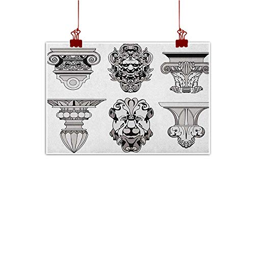 int Toga Party,Roman Architecture Theme with Sphinx Lion and Column Antique Design, Pale Grey and Black 28