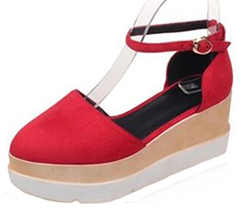 Easemax Womens Stylish Faux Suede Pointed Toe Buckle Ankle Strap Medium Wedge Heel Platform Sandals Red JWSG0
