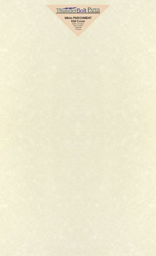 50 White Parchment 65lb Cover Weight Paper 8.5 X 14 Inches Cardstock Colored Sheets Legal Size -Printable Old Parchment Semblance (Paper Creme)
