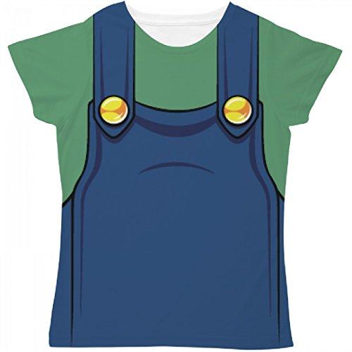 Luigi Outfit (Ladies Green Video Game Plumber costume: Ladies SubliVie Sublimation Tee)
