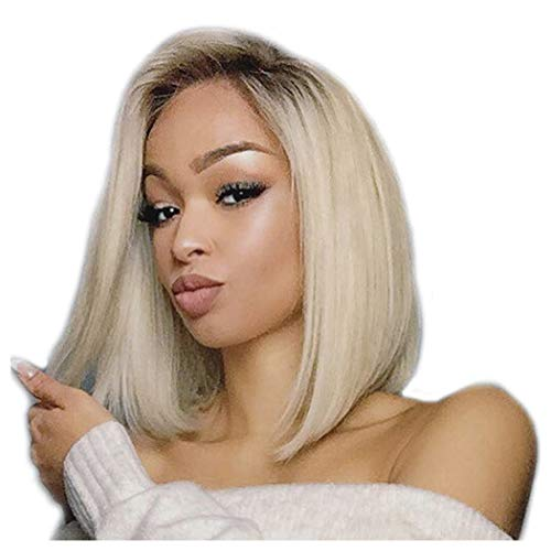 (Clearance Ombre Blonde Wig for Black Women Side Part Short Straight Bob Wig Heat Resistant Synthetic Fiber Hair Cosplay Party Full Wig)