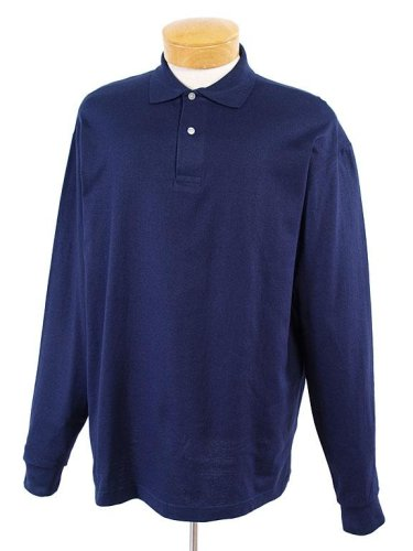 Jerzees 5.6 oz. 50/50 Long-Sleeve Jersey Polo with SpotShield, Navy, Large