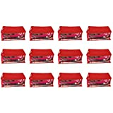 Kanushi Industries Set of 12 Pc Transparent/Window Non Woven Fabric Saree Cover/Bag/Storage Bag with Stainless Steel Zip Lock Combo (Red) (Large)