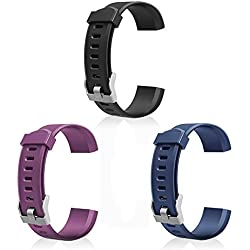 LETSCOM Replacement Bands for Fitness Tracker ID115PlusHR, 3 Pack (Black, Blue, Purple)