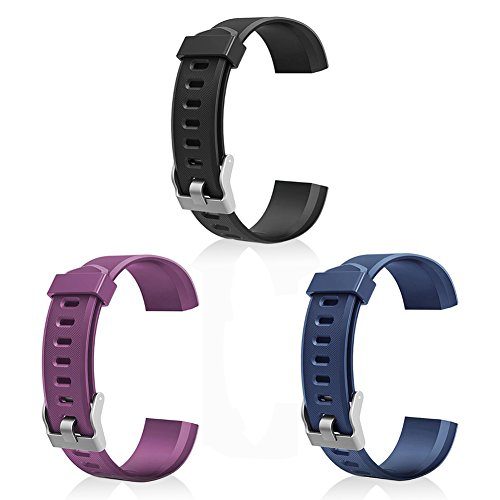 - LETSCOM Replacement Bands for Fitness Tracker ID115PlusHR, 3 Pack (Black, Blue, Purple)