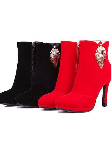 Uk6 us8 A La Red Y 5 Eu36 Cn39 Zapatos De Moda Mujer Noche Cn35 Eu39 Xzz Tacón Fiesta Botas 5 us5 Ante Negro Rojo Uk3 Vestido Stiletto Sintético Black UYRpq0