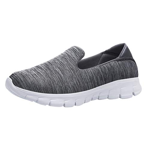 Dressin Womens Fashion Casual Solid Sport Breathable Lightweight Slip On Shoes Sneakers Dark Gray