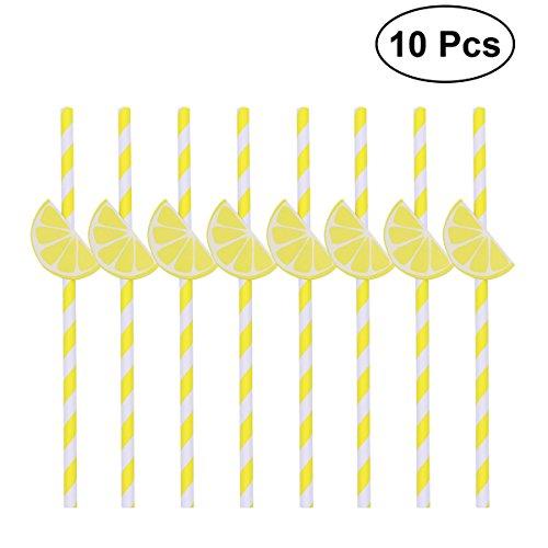 Lemon Straws - OUNONA Paper Drinking Straws Striped Lemon Hawaiian Beach Party Decoration Pack of 10