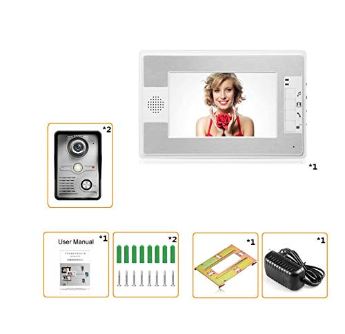 COL PETTI Wired Video Doorbell Kit- Video Door Phone Dual-Way Doorbell Intercom-Color Monitors and Surface Mounted HD Camera ()