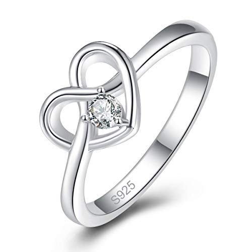 - AVECON 925 Sterling Silver Round Cut White Cubic Zirconia Love Heart Celtic Knot Ring, High Polish Heart Promise Ring Band for Women Size 6