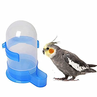 Mrli Pet Bird Seed Food Automatic Dispenser Birds Feed Dispenser, Bird Food Feeding Drinking Water Bowl, Fountain Kettle Feeder Cup with Holder For Parrots BirdCage Accessories Blue Plastic 21 fl oz from Mrli Pet