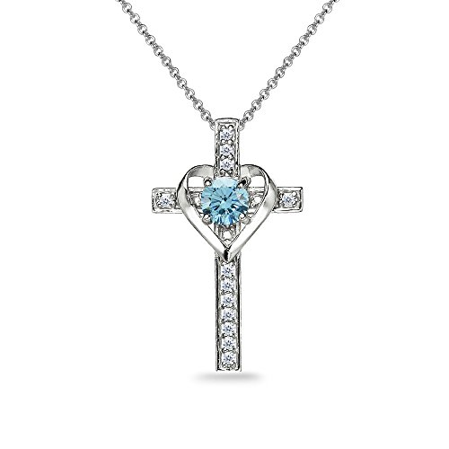 Sterling Silver Light Blue Heart in Cross Pendant Necklace Made with Swarovski Crystals ()
