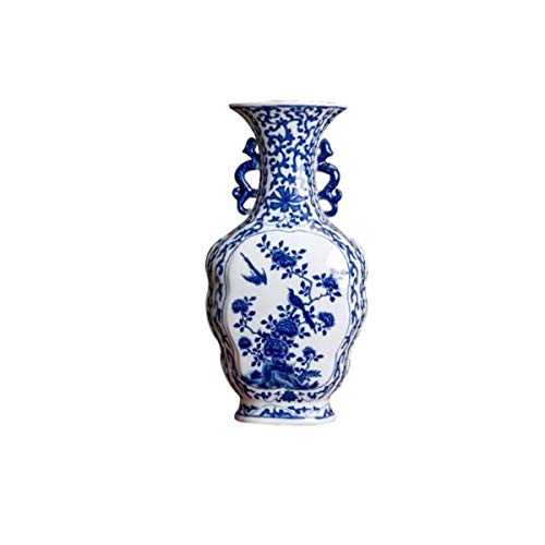 - 8HAOWENJU Vase Decoration, Jingdezhen Neo-classical Chinese Ceramics, Blue And White Antique Vase Decoration, Living Room Bogu Wine Cabinet Home Retro Decoration, Blue And White Porcelain Bottle Chine