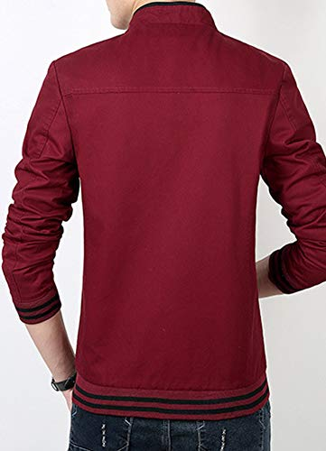 Collar Coats Red Jacket Wine with Military Mens Windbreaker Retro Stand AnyuA 8WUwqT7xY8