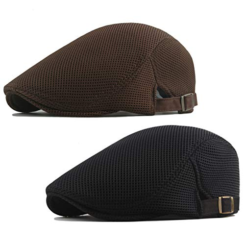 BABEYOND 1920s Gatsby Newsboy Hat Cap for Men 20s Gentlemen Costume Accessory for 1920s Gatsby Party (Black & Coffee)