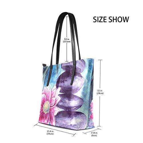 13e9e3922c30 COOSUN Lotus e pietre in PU Acqua Leather Shoulder bag borsa e borse Tote  Bag per le donne medio multicolore  Amazon.it  Valigeria