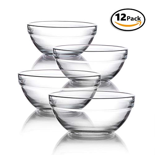(Mini 3.5 Inch Glass Bowls for Kitchen Prep, Dessert, Dips, and Candy Dishes or Nut Bowls, Set of 12)
