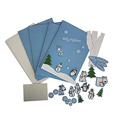 Wonderful Amscan Joyful Snowman Christmas Card Making Craft Kit