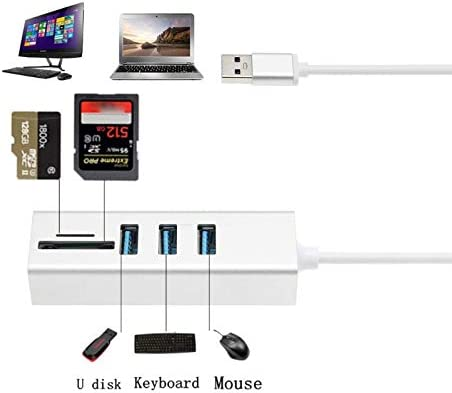and Charge or Connect USB Devices wi DP-iot 5-in-1 USB 3.0 HUB /& Card Reader,Includes 3-Port USB 3.0 Hub,an Micro and SD Card Reader