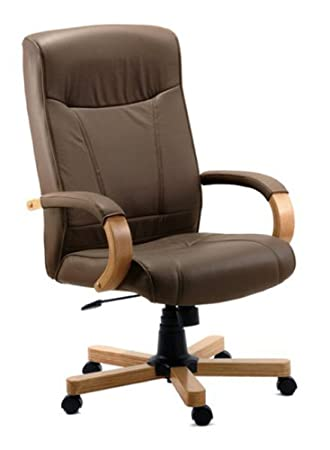 Prime Richmond Brown Leather Office Chair Leather Faced Oak Arms And Base Download Free Architecture Designs Sospemadebymaigaardcom