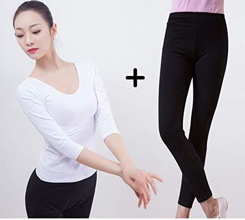 Vshiaifen 大人のダンスパンツ女性の黒の9点のズボンのズボンのバレエボディタイトなストレッチダンス7点の練習のズボン (Color : O, Size : XXXL)