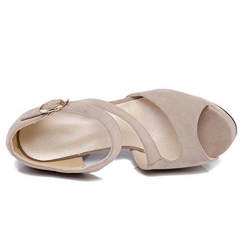 Toe Peep Mujer Beige Sandalias RAZAMAZA Tobillo Zapatos Tacones Correa Ancho Plataforma BqnxYn