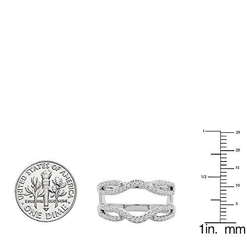 Dazzlingrock Collection 0.35 Carat (ctw) 10K White Diamond Wedding Band Enhancer Guard Double Ring 1/3 CT, White Gold, Size 6.5 by Dazzlingrock Collection (Image #3)