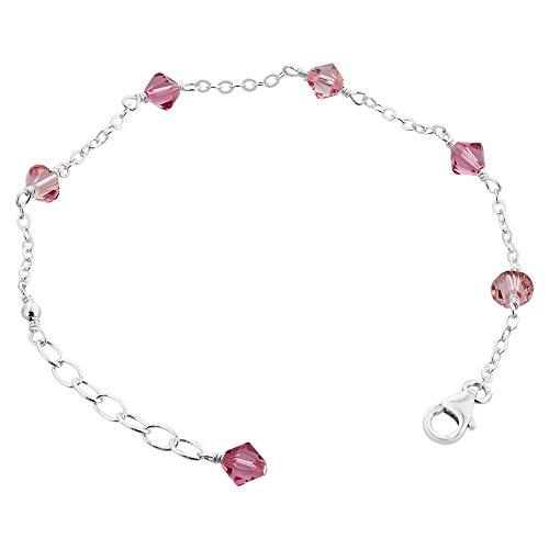 GEM Avenue Argent sterling Rose Cristal Swarovski Elements Bracelet 7à 20,3cm réglable