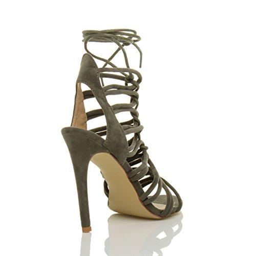Cinturino Numero Donna Tacco Scamosciata Con Alto Sandali Cachi Scarpe Stringhe Rinumerore ORRtq6rW